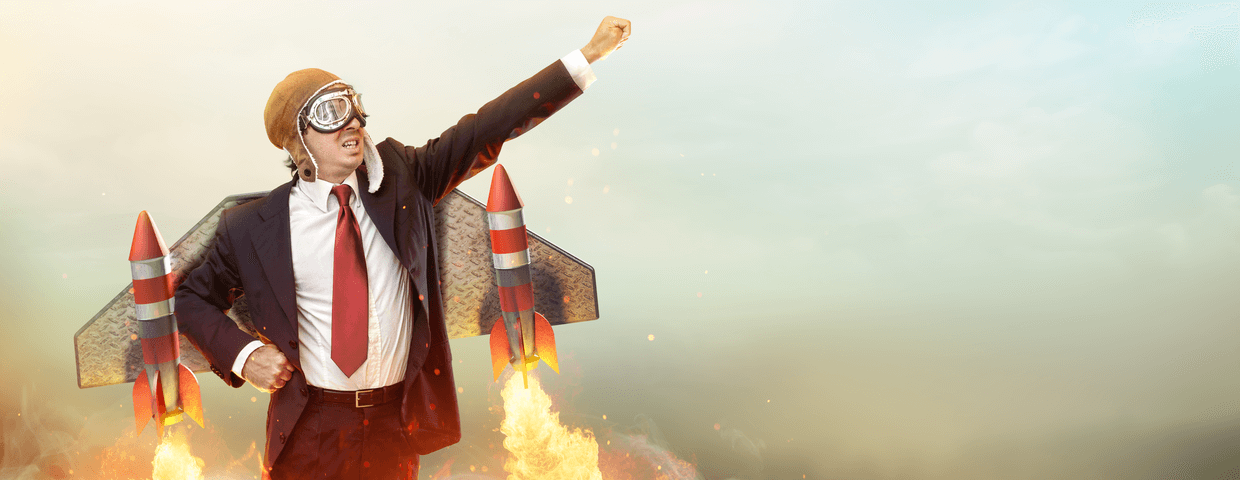 Businessman With Jetpack On His Back Boost Up Concept