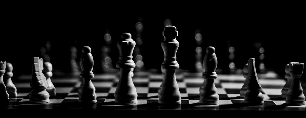 Black and white photo of a chess game