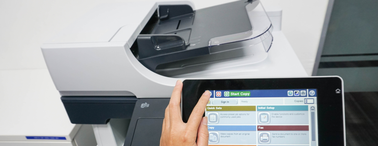 multifunction printer touch screen in use